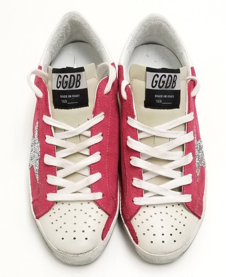 Golden Goose Deluxe Brand G34ws590.o49 Strawberry Suede-Silver Glitter Athletic Image 4