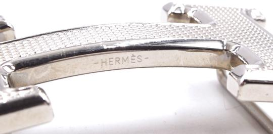 c91a358b097fc Hermès RARE 32Mm silver Guilloche H Reversible leather Belt size 90 Image 4