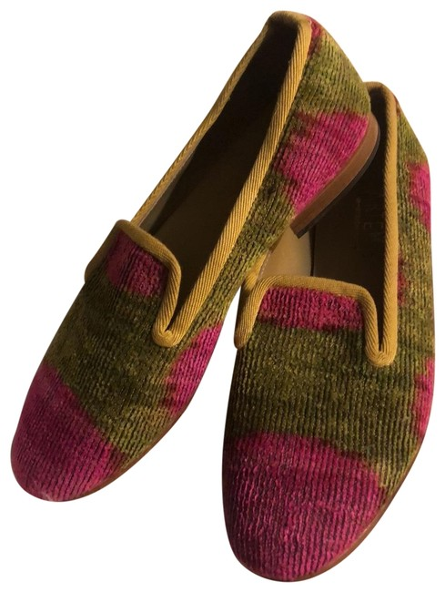 Item - Hot Pink and Kelly Green Smoking Loafer Flats Size EU 38 (Approx. US 8) Regular (M, B)