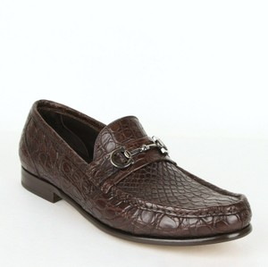 Salvatore Ferragamo Dark Brown Men's Giostra 3 Crocodile Horsebit Loafer 483743 13 D Shoes