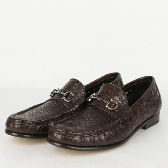Salvatore Ferragamo Dark Brown Men's Giostra 3 Crocodile Horsebit Loafer 483743 13 D Shoes Image 1