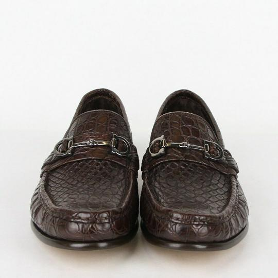 Salvatore Ferragamo Dark Brown Men's Giostra 3 Crocodile Horsebit Loafer 483743 13 D Shoes Image 2
