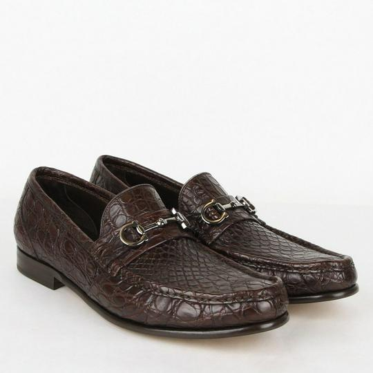 Salvatore Ferragamo Dark Brown Men's Giostra 3 Crocodile Horsebit Loafer 483743 13 D Shoes Image 3