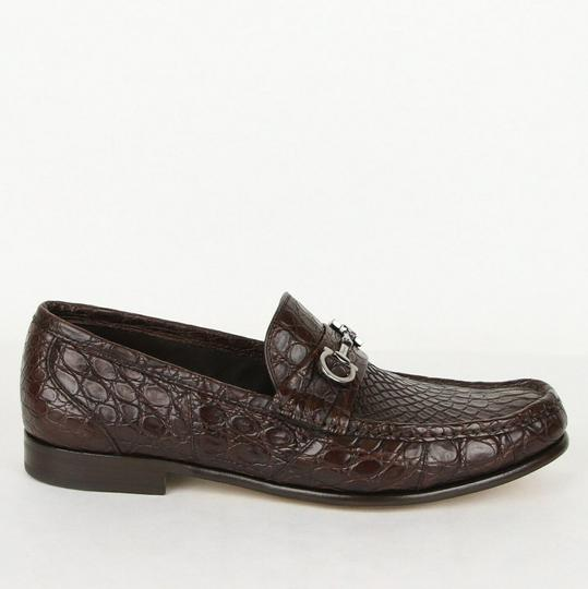 Salvatore Ferragamo Dark Brown Men's Giostra 3 Crocodile Horsebit Loafer 483743 13 D Shoes Image 5