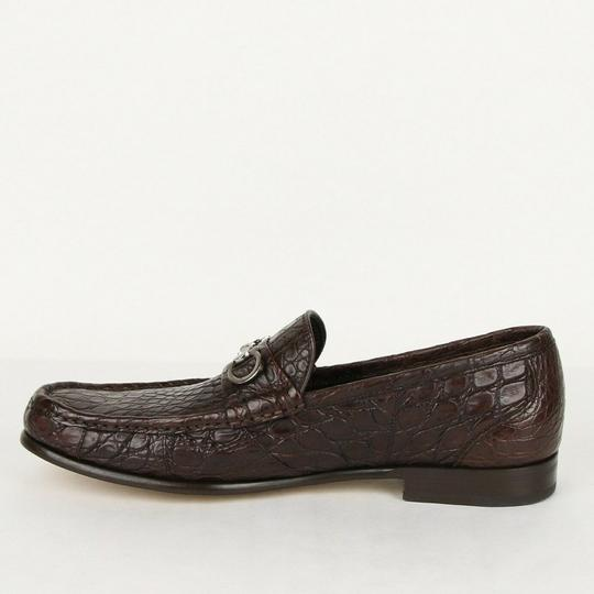 Salvatore Ferragamo Dark Brown Men's Giostra 3 Crocodile Horsebit Loafer 483743 13 D Shoes Image 6