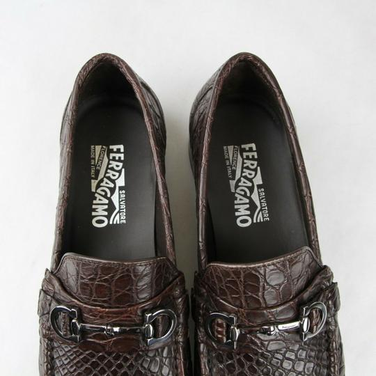 Salvatore Ferragamo Dark Brown Men's Giostra 3 Crocodile Horsebit Loafer 483743 13 D Shoes Image 8