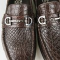 Salvatore Ferragamo Dark Brown Men's Giostra 3 Crocodile Horsebit Loafer 483743 13 D Shoes Image 9