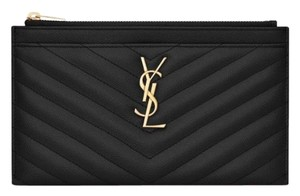 Saint Laurent Matelasse Monogram YSL Black Pouch Wallet 413666b42a3bf