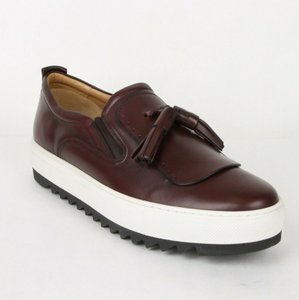 Salvatore Ferragamo Wine Men's Lucca Leather Slip-on Tassel Sneaker 665256 11.5 Ee Shoes
