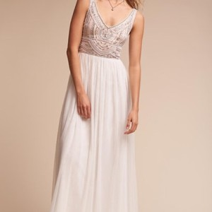 BHLDN White/Ivory Silk and Tulle Sterling Feminine Wedding Dress Size 0 (XS)