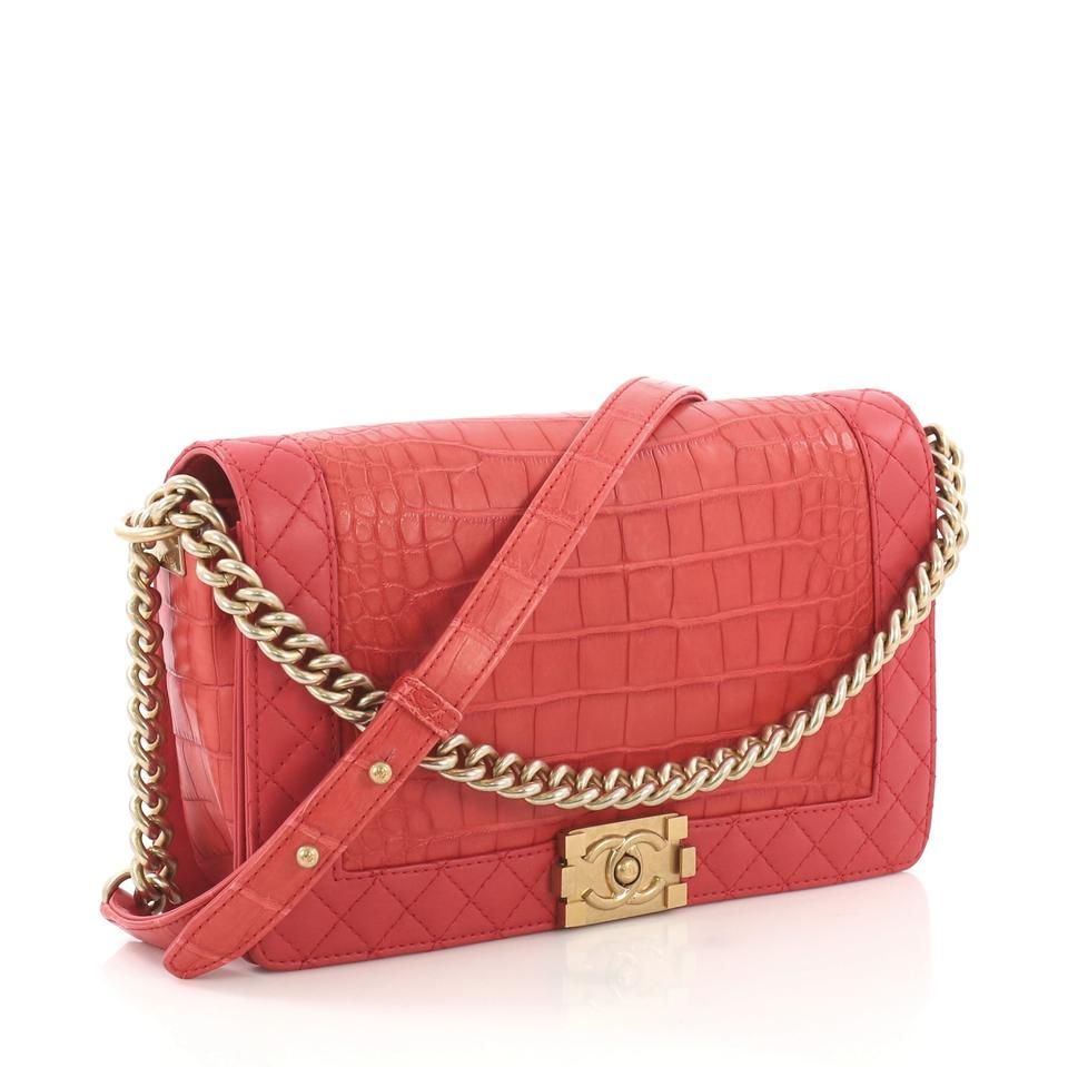 9a7d85924afc Chanel Classic Flap Boy Reverso New Medium Genuine Red Alligator and ...