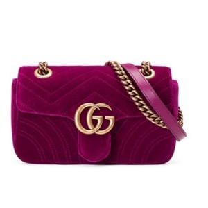 5772e37b2925 Added to Shopping Bag. Gucci Shoulder Bag. Gucci Marmont Gg Mini Fuchsia  Velvet ...
