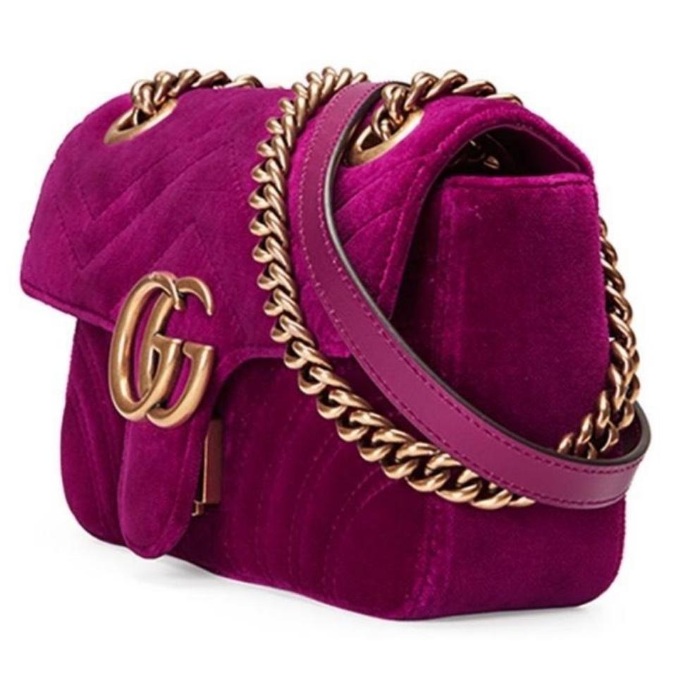 bb847dec8928 Gucci Marmont Gg Mini Fuchsia Velvet Shoulder Bag - Tradesy