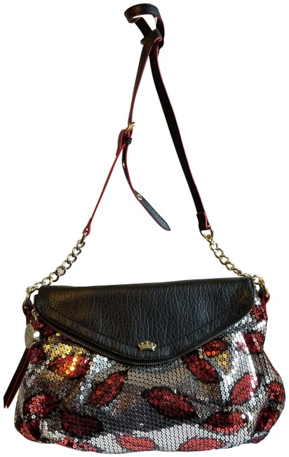 Item - Black Red and Silver Sequin Leather Cross Body Bag