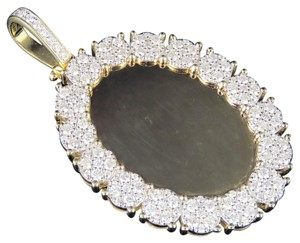 Jewelry Unlimited 10K Yellow Gold Real Diamond Oval Cluster Memory Photo Pendant 3.5 CT