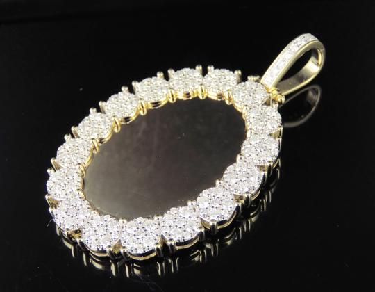 Jewelry Unlimited 10K Yellow Gold Real Diamond Oval Cluster Memory Photo Pendant 3.5 CT Image 1