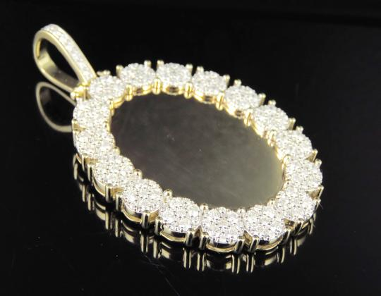 Jewelry Unlimited 10K Yellow Gold Real Diamond Oval Cluster Memory Photo Pendant 3.5 CT Image 2