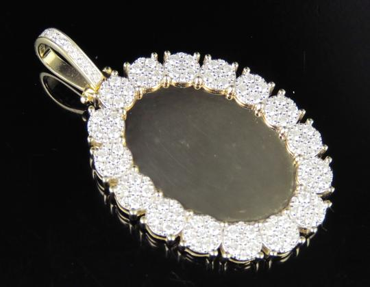 Jewelry Unlimited 10K Yellow Gold Real Diamond Oval Cluster Memory Photo Pendant 3.5 CT Image 4