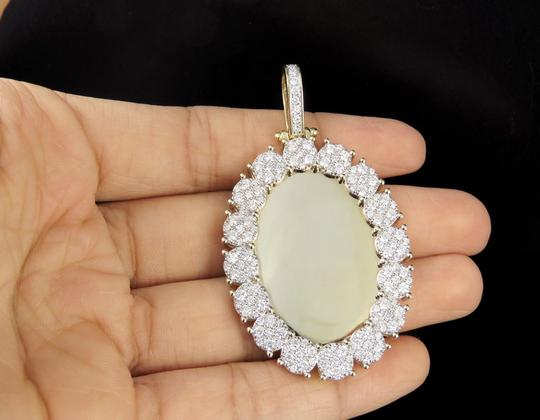 Jewelry Unlimited 10K Yellow Gold Real Diamond Oval Cluster Memory Photo Pendant 3.5 CT Image 5