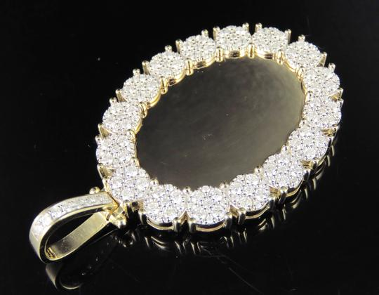 Jewelry Unlimited 10K Yellow Gold Real Diamond Oval Cluster Memory Photo Pendant 3.5 CT Image 6