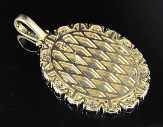 Jewelry Unlimited 10K Yellow Gold Real Diamond Oval Cluster Memory Photo Pendant 3.5 CT Image 7