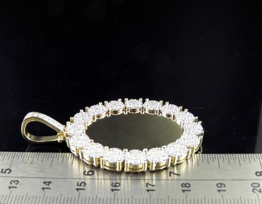 Jewelry Unlimited 10K Yellow Gold Real Diamond Oval Cluster Memory Photo Pendant 3.5 CT Image 8