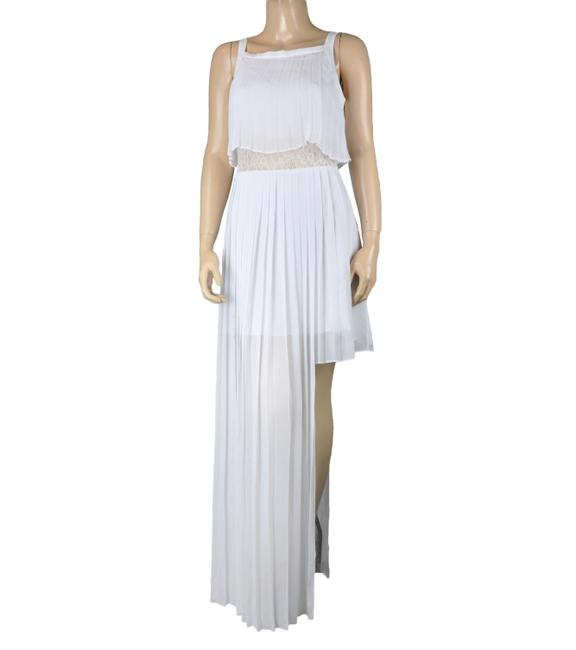 Item - White Bcbg Maxi Pleated Lace Sheer Long Formal Dress Size 6 (S)