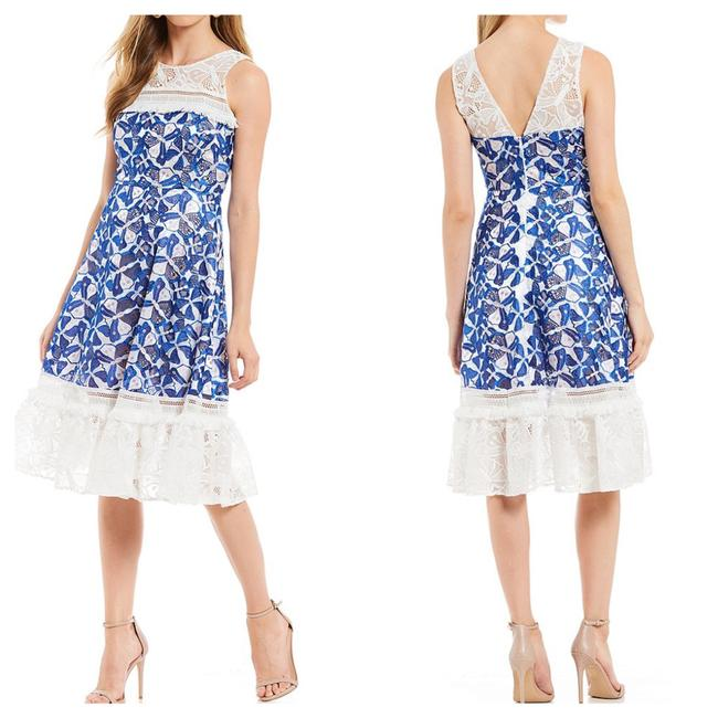 Item - Blue/White/Pink Eislyn Butterfly Embroidered Tassel Trim Mid-length Cocktail Dress Size 0 (XS)