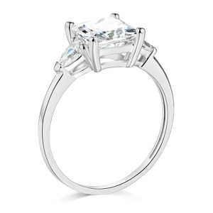 Top Gold & Diamond Jewelry 3-Stone Pear & 1.75-CT Princess-Cut CZ Engagement Ring in 14K White