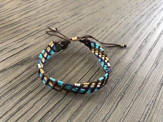 Chan Luu New Auth Chan Luu Turquoise Mix Seed Bead Pull Tie Bracelet Image 4