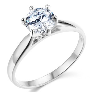 Top Gold & Diamond Jewelry 6-Prong Cathedral Round CZ Engagement Ring Solitaire in Sterling