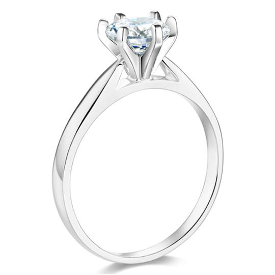 Top Gold & Diamond Jewelry 6-Prong Cathedral Round CZ Engagement Ring Solitaire in Sterling Image 3