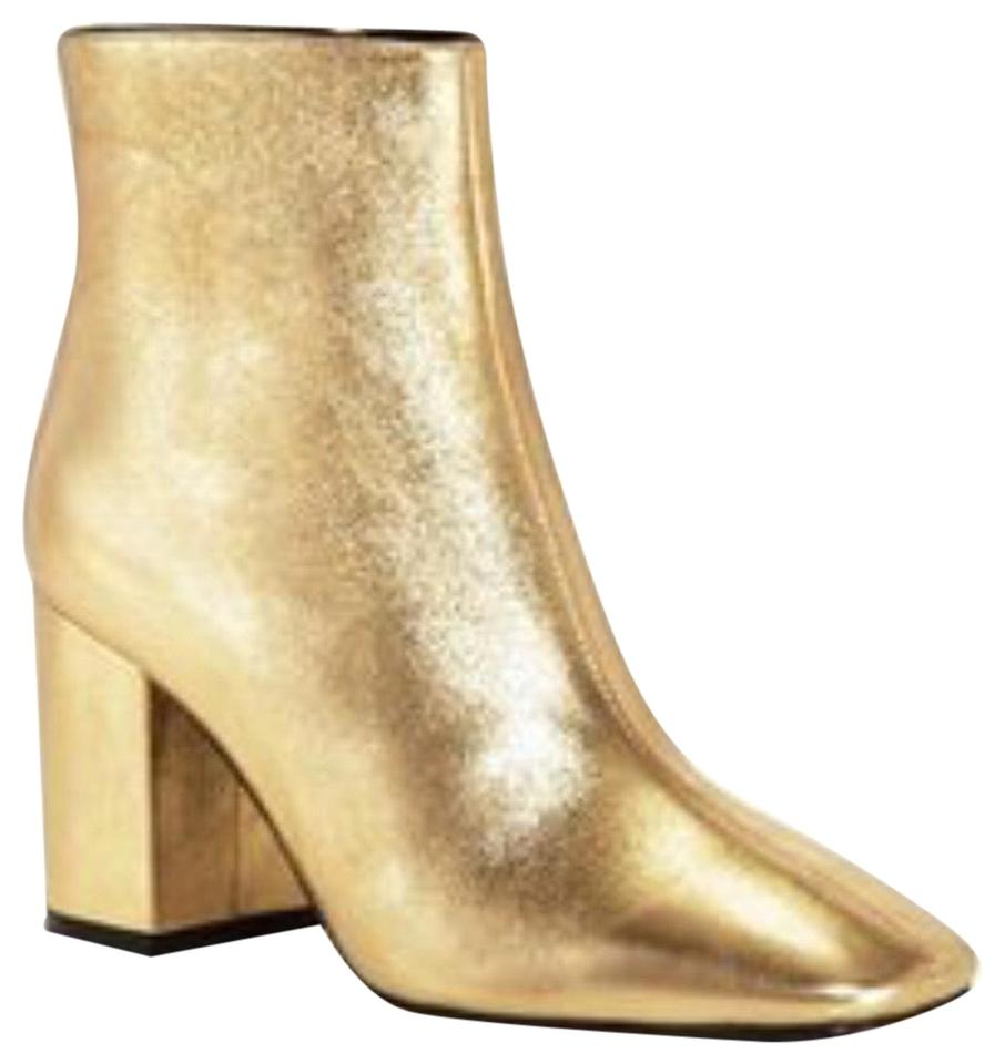 professional sale detailed images detailing ANINE BING Gold Metallic Leather Ankle Boots/Booties Size US 8 Regular (M,  B) 47% off retail