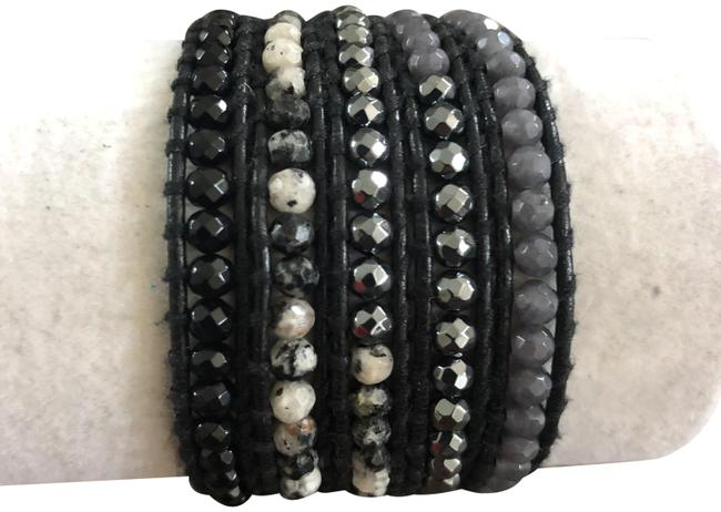Item - Black Mix New Hematite Onyx Quartz 5 Five Wrap Grey Leather Br Bracelet