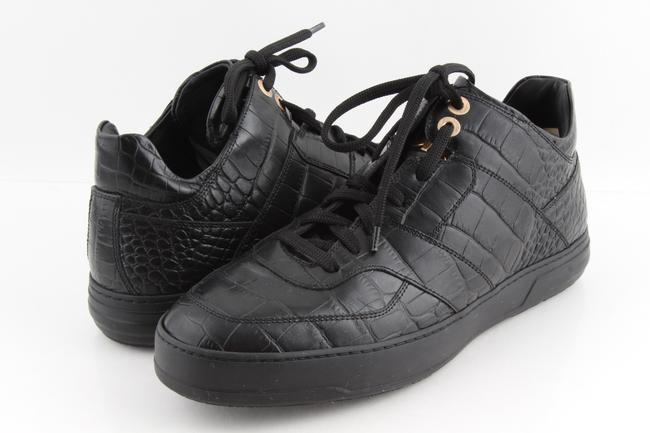 Item - Black Men's Crocodile Embossed Leather High Top Sneakers Shoes