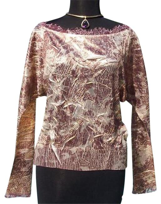 Item - Bronze Gold L Luxe Crinkle Metallic Split Sleeve New Lace Trim Stretch 12/14 Blouse Size 14 (L)