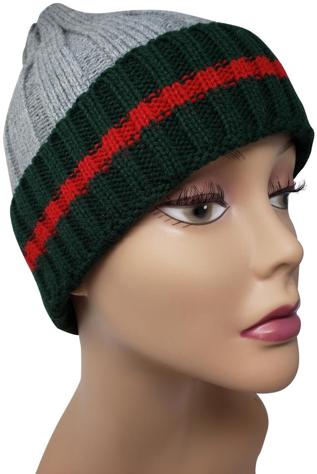 e46c873d9d49e Gucci Multicolor Grey Forest Green Red Wool Stripe Knit Beanie Hat ...