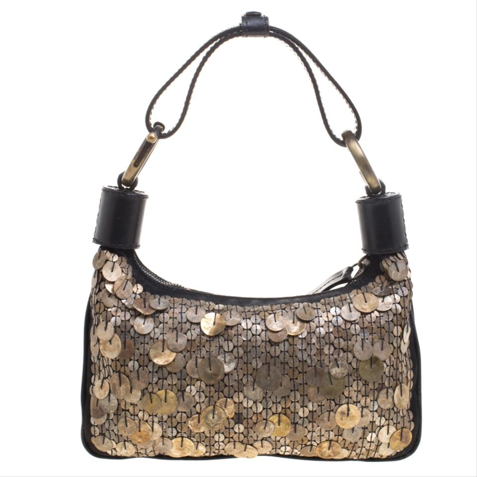 f050cf4df Chloé Shoulder Metallic Sequin Embellished Black Leather Hobo Bag ...