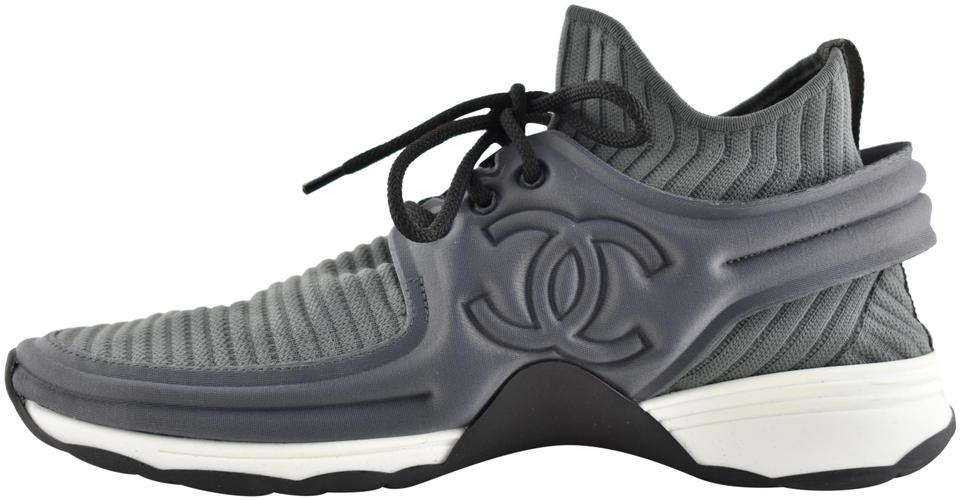 1e4c79149 Chanel Grey 18p Stretch Fabric Knit Sock Cc Logo Lace Flat Trainer Sneaker  Sneakers