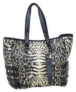 Jimmy Choo Raffia Suede Tote in Black