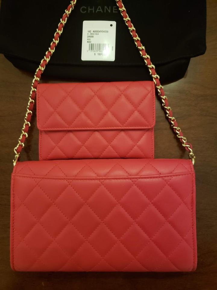 a05297de873a1 Chanel Clutch Quilted Wallet with Detachable Chain Bag Clutch Red Lambskin  Leather Wristlet - Tradesy