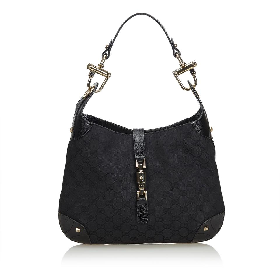 5d620ef5d20a79 Gucci Jackie Hobo Jacquard Fabric Gg New Jacquard Italy Small Black Blend  Leather Shoulder Bag
