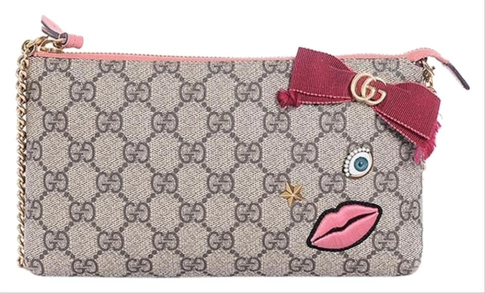 e0702c80c Gucci Gg Supreme Embroidered Face Chain Wallet Wristlet in Brown Image 0 ...