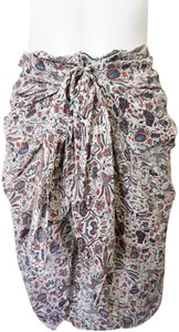 Isabel Marant Faux Wrap Silk Skirt Red Blue White