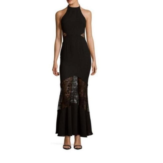 Fame and Partners Black Inset Long Formal Dress Size 0 (XS) Fame and Partners Black Inset Long Formal Dress Size 0 (XS) Image 1