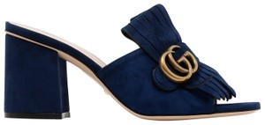 c3412d04848 Gucci Gg Sandals Slides Gg Blue Mules. Gucci Blue Gg Suede Mid-heel with  Double ...