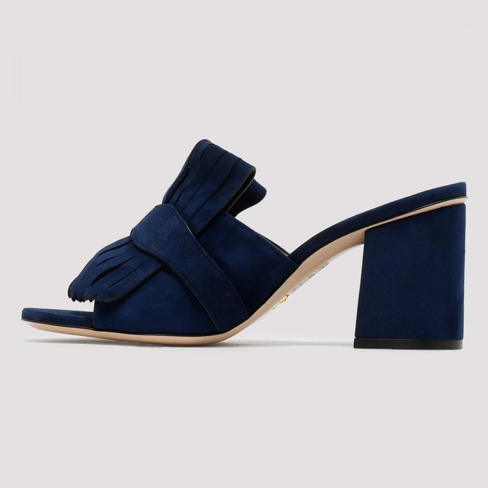 a31fe22817dd Gucci Blue Gg Suede Mid-heel with Double G Mules Slides Size EU 40 ...