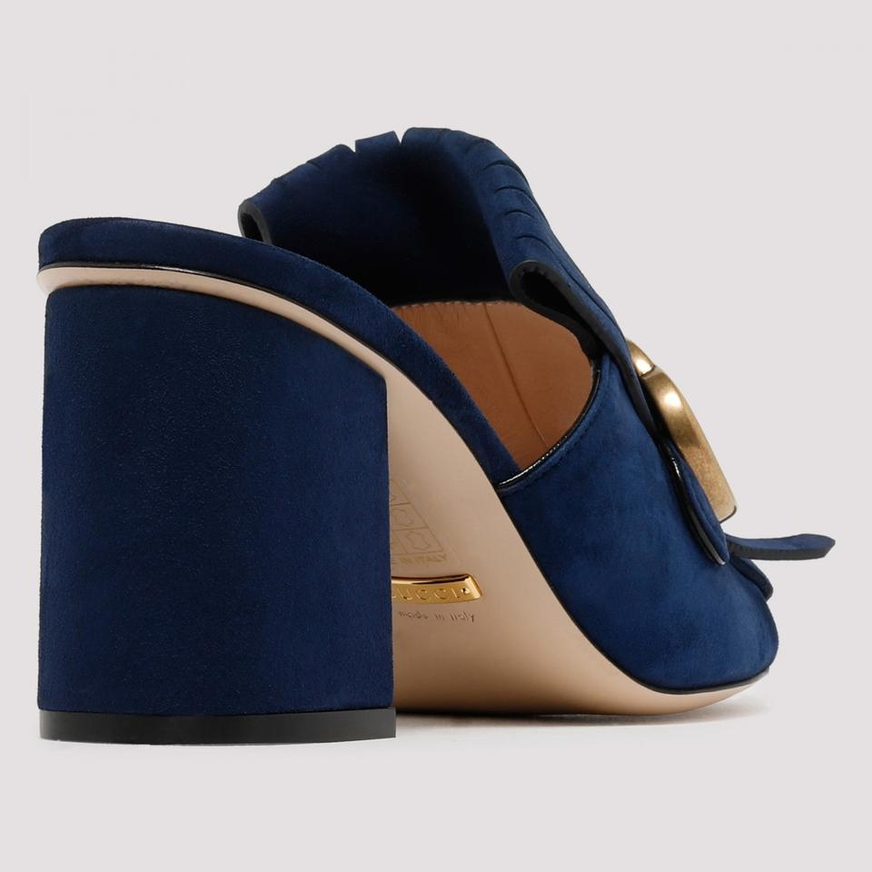 fd87152fe80 Gucci Blue Gg Suede Mid-heel with Double G Mules Slides Size EU 40 ...