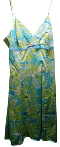 B. Smart short dress Blue / Green White Floral V-neck Strappy A-line Day on Tradesy