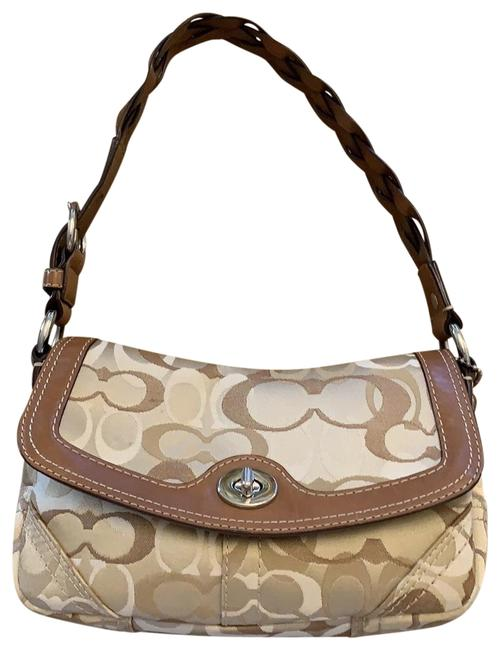 Item - Purse with Braided Leather Strap Beige Canvas Baguette